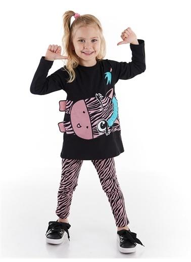 Denokids Zıpır Zebra Kız Tunik Takım Renkli